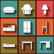 Set of 9 flat icons of house furniture — Stock Vector #52679449
