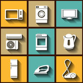 Set of 9 flat icons of domestic electric appliances — Stock Vector