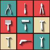 Set of 9 flat icons of worker's tools — Stock Vector