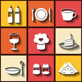 Set of 9 flat icons of kitchen utensils — Stock Vector