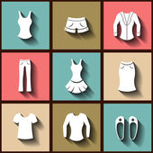 Set of 9 flat icons of female clothing — Stock Vector