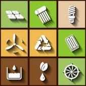 Set of 9 flat icons of renewable energy — Stock Vector