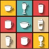 Set of 9 flat icons of different coffee cups — Stock Vector