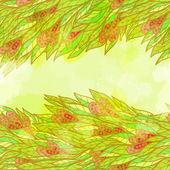 Hand drawn seamless green invitation card — Stock Vector