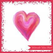 Pink watercolor heart — Stock Vector