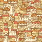 Seamless hand drawn beige pattern with old city with red roofs — Stock Vector