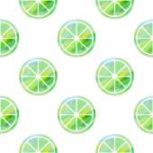 Seamless pattern with stylized silhouettes of green limes — Stock Vector