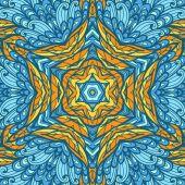 手绘民族橙色和蓝色贺卡 — 图库矢量图片