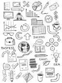 Set of hand drawn business symbols — Stock Vector