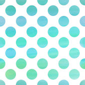 Seamless blue watercolor pattern with polka dots — Stock Vector