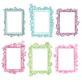 Set of colorful floral doodle frames — Stock Vector