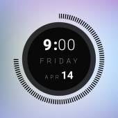 Black clock widget — Stock Vector