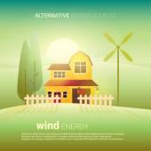 Alternativní energie větru — Stock vektor
