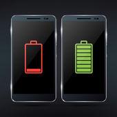 Smartphone s baterií ikony — Stock vektor
