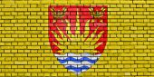 Flag of Suffolk painted on brick wall — Stock Photo