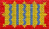 Flag of Cambridgeshire painted on brick wall — Stock Photo