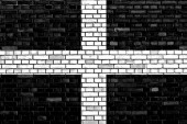 Flag of Cornwall painted on brick wall — Stockfoto