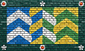 Flag of Cumbria painted on brick wall — Stock Photo