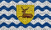 Flag of Hertfordshire painted on brick wall — ストック写真