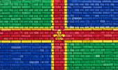 Flag of Lincolnshire painted on brick wall — Stock Photo