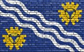 Flag of Merseyside painted on brick wall — Stock Photo