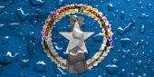 Flag of Northern Mariana Islands with rain drops — Stock Photo