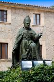 Memorial to Bishop Pere-Joan Campins, inner courtyard of Lluc Abbey, pilgrimage church, pilgrims hostel, Escorca, Mallorca, Balearics, Spain, Europe — Stock Photo