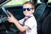 Cute driver in car — Stock Photo