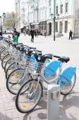 KAZAN, RUSSIA  - MAY 5, 2015:  Bikes for rent docking station in center of Kazan, Russia — Stock Photo