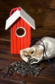 Wooden bird house with seed — Stock Photo