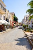 FAMAGUSTA,NOTHERN CYPRUS - AUGUST, 28: Street souvenir shops on August, 28, 2013 in Famagusta,Turkish Republic. In August 1974 city was occupied by Turkish troops — Stock Photo