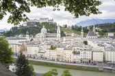 Salzburg cityscape with cathedral and fortress, Austria, Europe — Stock Photo