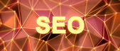 Abstract low-poly background. Word concept. Text SEO. 3d render. — Stock Photo