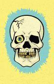 "Retro ""Offset Print"" Skull — Stock Vector"