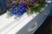 Coffin in mortuary — Stock Photo