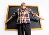 Weak schoolboy — Stock Photo