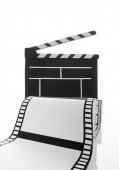 Cinema clapper and film — Stock Photo