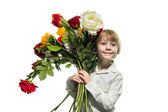 Boy with a bouquet — Stock Photo