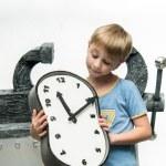 Boy with clock — Stock Photo #75495505