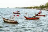 Small fishing boats on the beach Thailand — Stock Photo