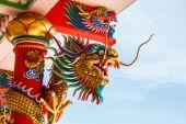 Draken in chinese tempel — Stockfoto