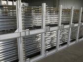 Aluminum lines stock rack in a factory. — Fotografia Stock
