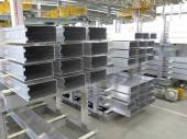 Aluminum lines stock rack in a factory. — Stock Photo
