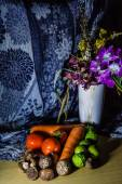 Flowers and Fruits still life — Stock Photo