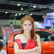 Постер, плакат: Bangkok Thailand April 4 2015: Booth Isuzu presenter demonst