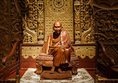 Buddha carved wood — Stock Photo
