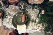 Christmas table setting — Stockfoto