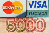 Five thousand bill and bank cards — Stock Photo