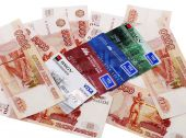 Russian money and credit cards — Stock Photo