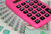 Banknotes and calculator — Stock Photo